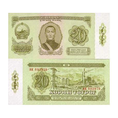 Billets de collection Billet de collection Mongolie Pk N° 46 - 20 Tugrik Billets de Mongolie 6,00 €