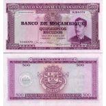Sammlung von Banknoten Mosambik Pick Nummer 118 - 500 Escudo