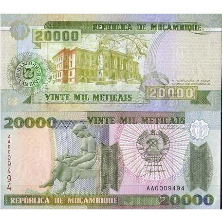 Billets de collection Billets de banque Mozambique Pk N° 140 - 20000 Meticais Billets du Mozambique 6,00 €