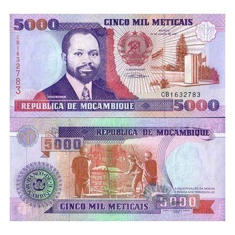 Billets de collection Billet de banque Mozambique Pk N° 136 - 5000 Meticais Billets du Mozambique 3,00 €