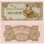 Schone Banknote Myanmar Pick Nummer 13 - 0,5 Kyat