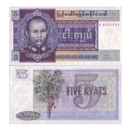 Billets de collection Billet de collection Myanmar Pk N° 57 - 5 Kyats Billets du Myanmar 1,00 €