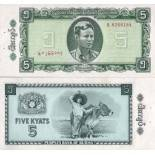 Billet de collection Myanmar Pk N° 53 - 5 Kyat