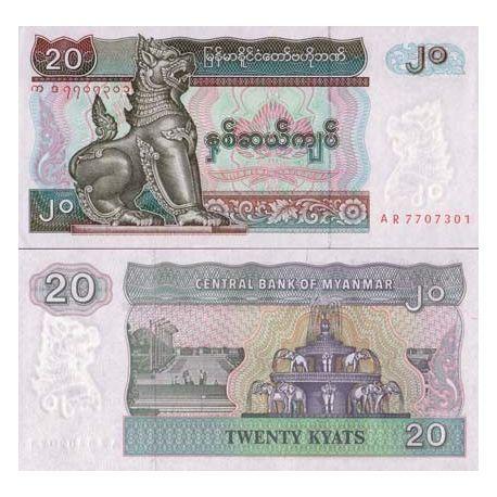 Billets de collection Billets collection Myanmar Pk N° 72 - 20 Kyat Billets du Myanmar 1,00 €