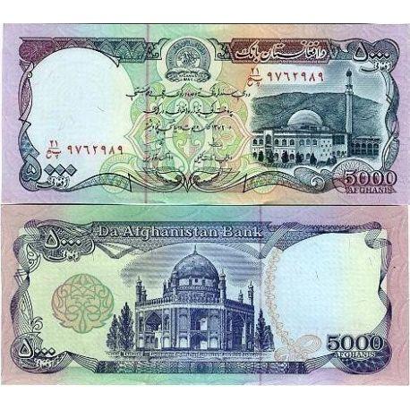 Billets de collection Billets banque Afghanistan Pk N° 62 - 5000 Afghanis Billets d'Afghanistan 3,00 €