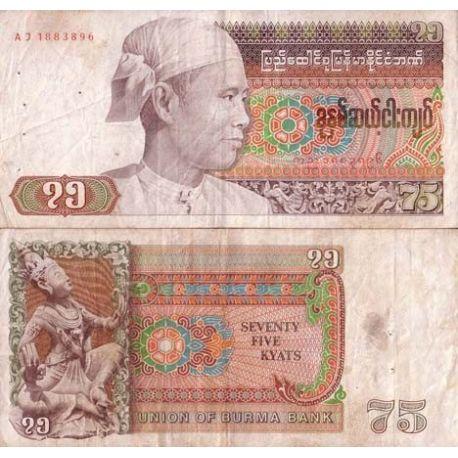 Billets banque Myanmar Pk N° 65 - 75 Kyat