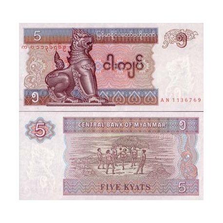Billets de collection Billets de banque Myanmar Pk N° 70 - 5 Kyats Billets du Myanmar 1,00 €