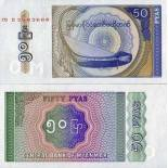Sammlung von Banknoten Myanmar Pick Nummer 68 - 50 Kyat