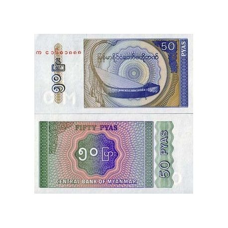 Billets de collection Billets collection Myanmar Pk N° 68 - 50 Kyats Billets du Myanmar 1,00 €