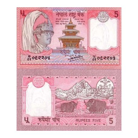 Billets de collection Billet de collection Nepal Pk N° 30 - 5 Rupees Billets du Nepal 1,50 €