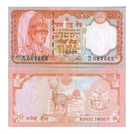 Billets de collection Billet de banque Nepal Pk N° 38 - 20 Rupees Billets du Nepal 4,00 €