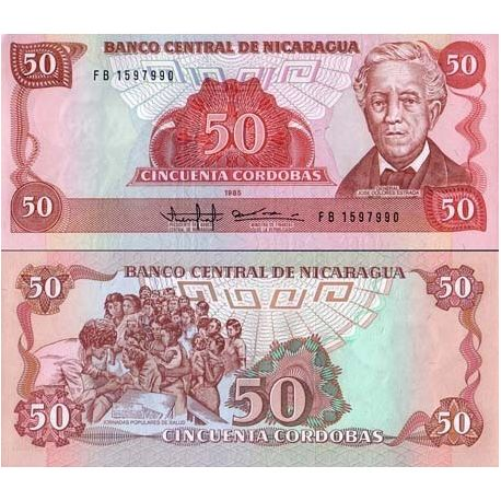 Billets de collection Billets collection Nicaragua Pk N° 153 - 50 Cordobas Billets du Nicaragua 4,00 €