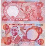 Precioso de billetes Nigeria Pick número 25 - 10 Naira 1984
