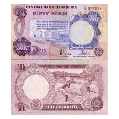 Billets de collection Billet de banque Nigeria Pk N° 14 - 50 Kobo Billets du Nigeria 10,00 €
