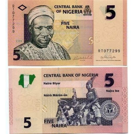 Billet de collection Nigeria Pk N° 32 - 5 Naira