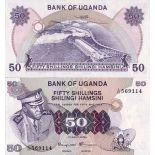Precioso de billetes Uganda Pick número 8 - 50 Shilling