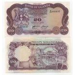Collection of Banknote Uganda Pick number 3 - 20 Shilling