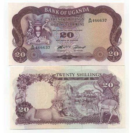 Billets de collection Billets de banque Ouganda Pk N° 3 - 20 Shillings Billets d'Ouganda 10,00 €