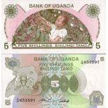 Banconote Uganda Pick numero 15 - 5 Shilling