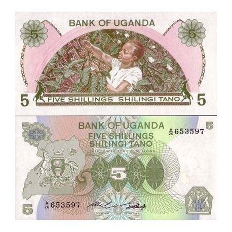 Billets de collection Billets collection Ouganda Pk N° 15 - 5 Shilling Billets d'Ouganda 2,50 €
