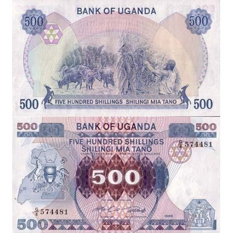 Billets de collection Billet de banque Ouganda Pk N° 25 - 500 Shilling Billets d'Ouganda 5,00 €