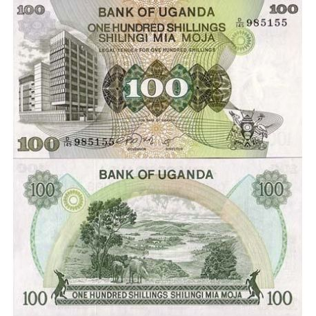 Billets de collection Billet de banque Ouganda Pk N° 14 - 100 Shillings Billets d'Ouganda 10,00 €