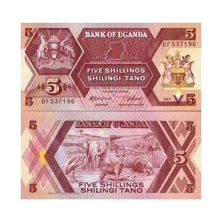 Billet de collection Ouganda Pk N° 27 - 5 Shillings
