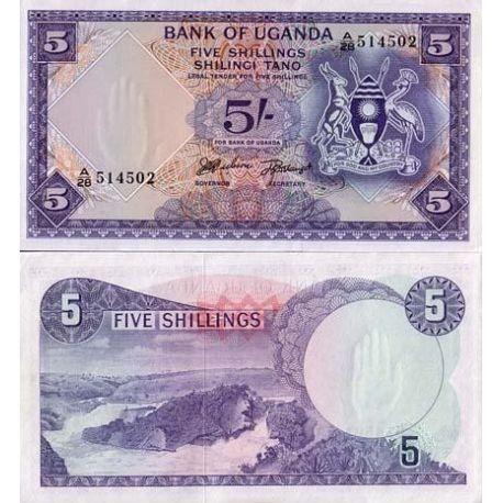 Billets de collection Billet de banque Ouganda Pk N° 1 - 5 Shillings Billets d'Ouganda 8,00 €