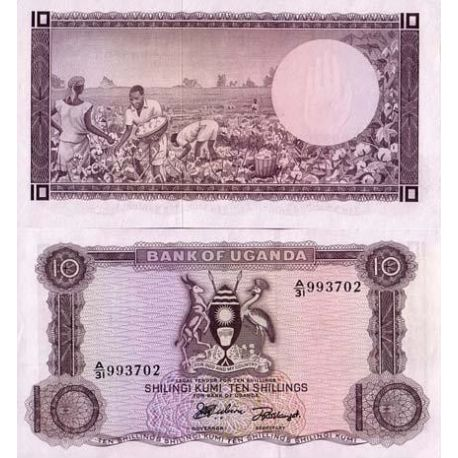 Billets de collection Billets banque Ouganda Pk N° 2 - 10 Shillings Billets d'Ouganda 10,00 €