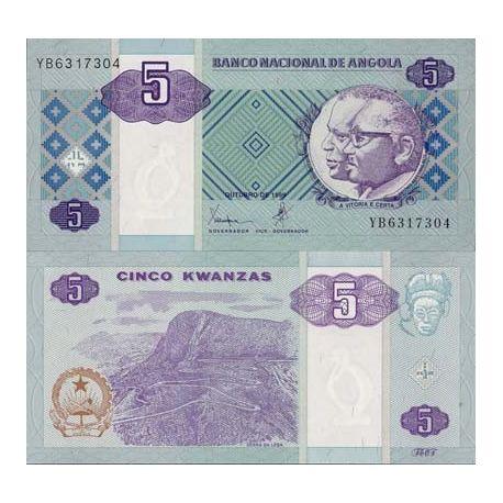 Billet de collection Angola Pk N° 144 - 5 Kwanzas