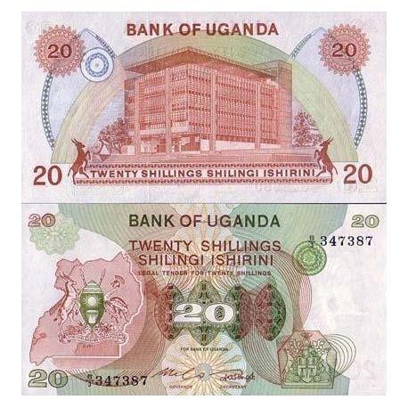 Billets de collection Billets banque Ouganda Pk N° 17 - 20 Shillings Billets d'Ouganda 9,00 €