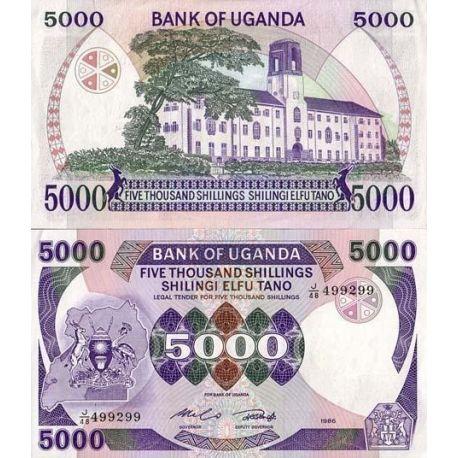 Billets de collection Billet de banque Ouganda Pk N° 24 - 5000 Shillings Billets d'Ouganda 9,00 €