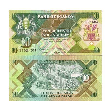 Billets de collection Billets de banque Ouganda Pk N° 28 - 10 Shillings Billets d'Ouganda 4,00 €