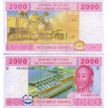 Billets collection Afrique Centrale Cameroun Pk N° 208 - 2000 Francs