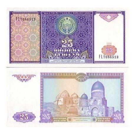 Billets de banque Ouzbekistan Pk N° 77 - 25 Sum