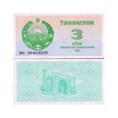 Billets collection Ouzbekistan Pk N° 62 - 3 Sum