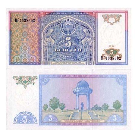 Billets de collection Billet de banque Ouzbekistan Pk N° 75 - 5 Sum Billets d'Ouzbekistan 1,00 €