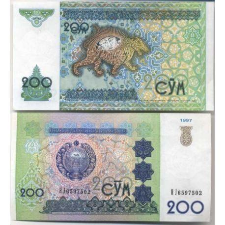 Billets de collection Billets de banque Ouzbekistan Pk N° 80 - 200 Sum Billets d'Ouzbekistan 1,00 €