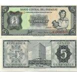 Precioso de billetes Paraguay Pick número 195 - 5 Guarani