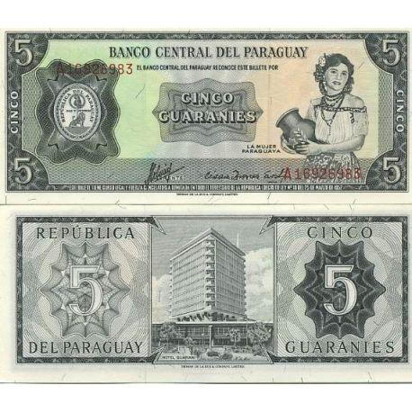 Billet de banque Paraguay Pk N° 195 - 5 Guaranis