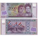 Los billetes de banco Paraguay Pick número 228 - 2000 Guarani