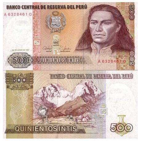 Billets banque Perou Pk N° 134 - 500 Intis