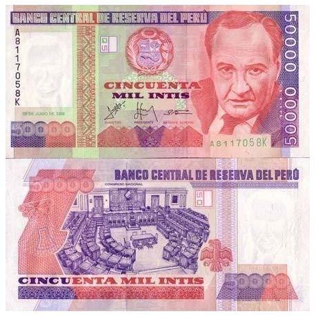 Billets de banque Perou Pk N° 142 - 50000 INTIS