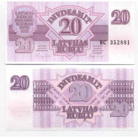 Lettonie - Pk N° 39 - Billet de 20 Rubli