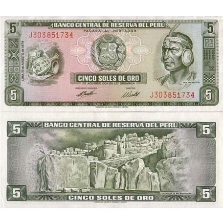 Billets banque Perou Pk N° 99 - 5 Soles