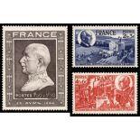 Serie francobolli di Francia N ° 606/608 Nuevo non linguellato