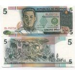 Colección Billetes Filipinas Pick número 180 - 5 Peso