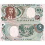 Precioso de billetes Filipinas Pick número 143 - 5 Peso