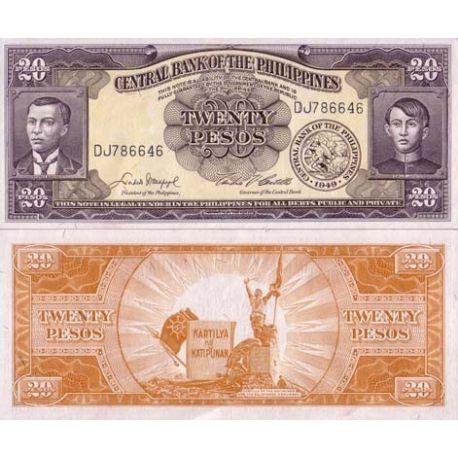 Billets de collection Billets de banque Philippines Pk N° 137 - 20 Pesos Billets des Philippines 4,00 €