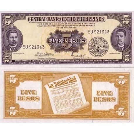 Billets de collection Billet de banque Philippines Pk N° 135 - 5 Pesos Billets des Philippines 6,00 €